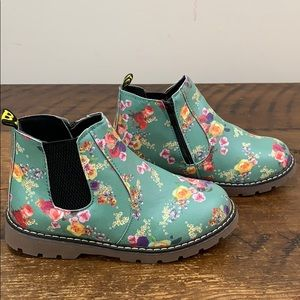 Girl's Floral Flower Print Chelsea Ankle Boots